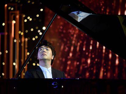 El pianista chino Lang Lang, en la presentación de su nuevo album, en Pekís este viernes.