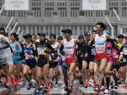 Atletas en el maratón de Tokio en 2019.