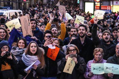 Concentración de 'sardinas', este sábado en Madrid.