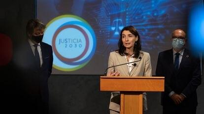 La ministra de Justicia, Pilar Llop, el viernes durante la presentación del Plan Justicia 2030 en el Palacio de la Audiencia de Soria.