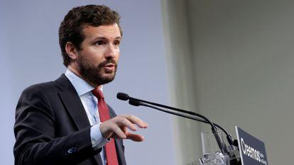 El presidente del Partido Popular, Pablo Casado, en rueda de prensa el pasado mes de julio.