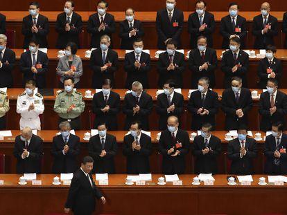 El presidente chino, Xi Jinping, en la ceremonia inaugural de la sesión legislativa anual, este viernes.