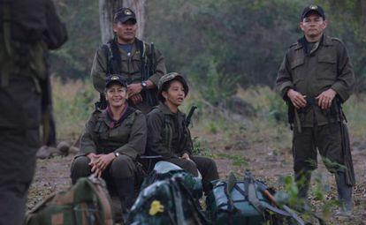 Un grupo de guerrilleros a su llegada a la zona veredal de Pondores, en La Guajira, al norte de Colombia.