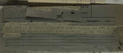 Telegrama de 1939 pidiendo la detención inmediata de León de Huelves y su esposa, Josefa de la Calle.