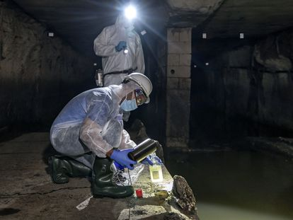 Dos trabajadores recogen muestras del alcantarillado para el sistema de alerta temprana del coronavirus en Valencia durante el mes de mayo del pasado año.