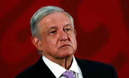López Obrador en el Palacio Nacional.