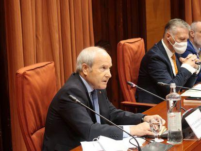 El 'expresident' José Montilla, este lunes en la comisión del Parlament.