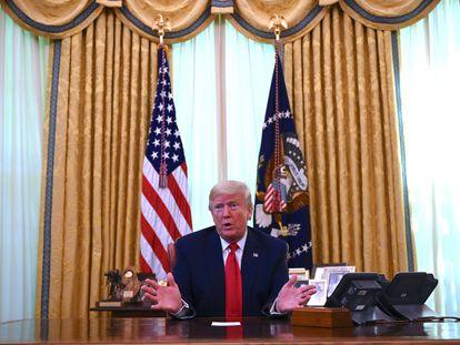 Donald Trump en la Oficina Oval de la Casa Blanca, este viernes.