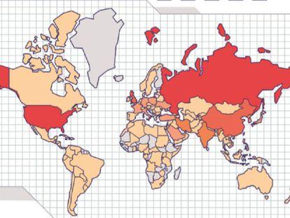 Mapa de los países más atacados por piratas informáticos. Los colores más oscuros muestran los que han sufrido más campañas.