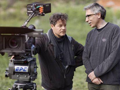 Jorge Sanz y David Trueba, durante el rodaje de '¿Qué fue de Jorge Sanz?'.