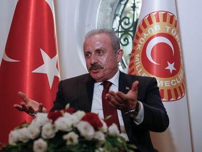El presidente de la Asamblea Nacional turca, Mustafá Sentop, este lunes en Madrid.
