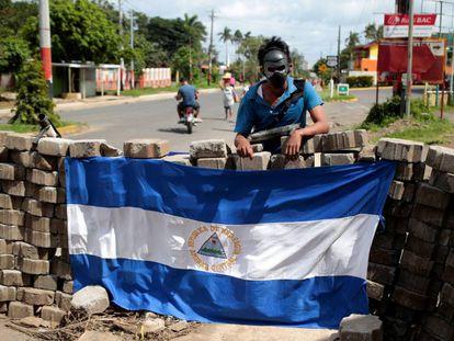 Una barricada en la ciudad de Jinotepe.