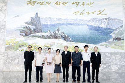 Los dueños de la marca  de vaqueros Noko en Corea del Norte.