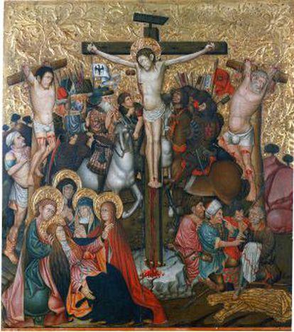 'Crucifixión' de Jaume Ferrer conservada en el MNAC que coronaba el retablo de Peralta de la Sal, según los investigadores.