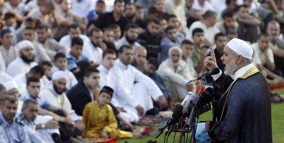 El primer ministro de Gaza, Ismail Haniyeh, durante el Eid al Fitr.