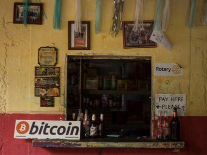Una tienda de El Salvador que acepta Bitcoin.