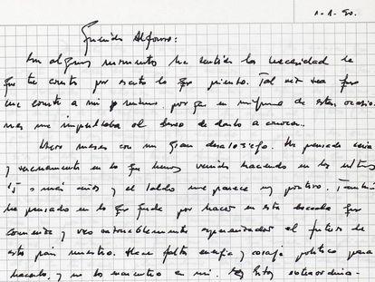 Carta manuscrita de González a Alfonso Guerra.