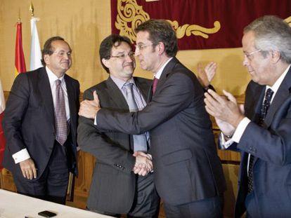 El presidente Feijóo durante el acto de firma entre Pemex y los astilleros gallegos.