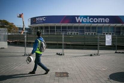 Recinto de la Fira de Barcelona tras el anuncio de cancelacion del Mobile World Congress (MWC).