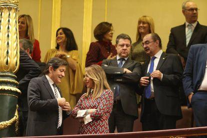 Desde la izquierda, Javier Fernández, Susana Díaz, Emiliano García-Page y Javier Lambán, en el Congreso de los Diputados.