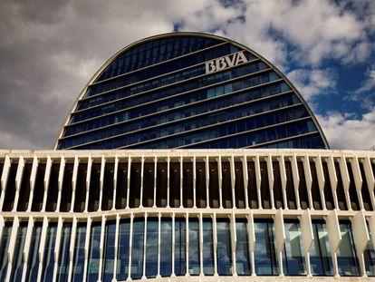 Vista de la sede global de BBVA, en Madrid.
