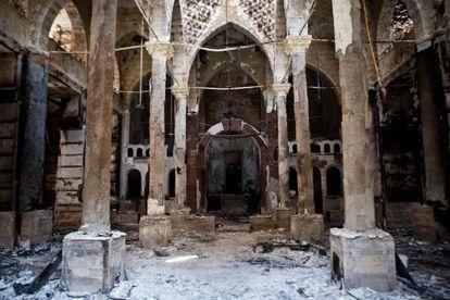 Los restos de la iglesia de Amir Tadros en la provincia egipcia de Menia, al sur de El Cairo.