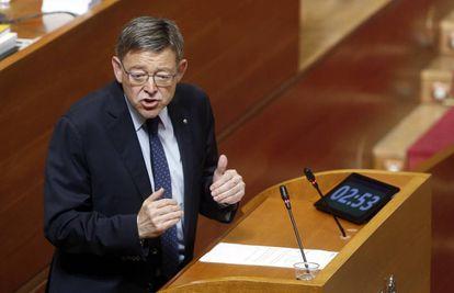 El presidente de la Generalitat, Ximo Puig, en las Cortes Valencianas.