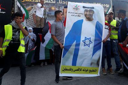 Protesta palestina en contra la normalización entre Israel y Emiratos, el miércoles en Cisjordania.