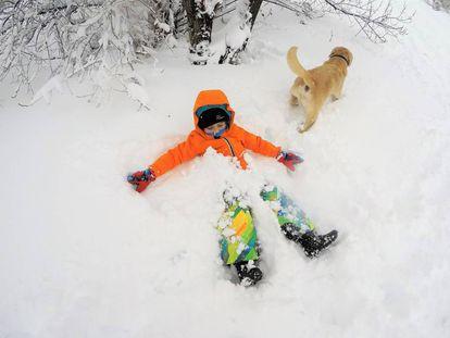 'Hiking' por el bosque nevado.