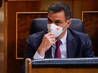 El presidente del Gobierno, Pedro Sánchez, durante el pleno extraordinario en el Congreso de los Diputados, este miércoles.