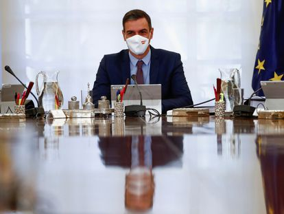 El presidente del Gobierno, Pedro Sánchez, este martes en La Moncloa.