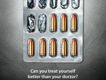 """Clínica Lata Patil. ¿Puedes medicarte tú mejor que tu doctor? La automedicación puede poner tu vida en peligro. Toma siempre las medicinas solo después de consultar con tu médico"""". Agencia R&P Advertising, India"""