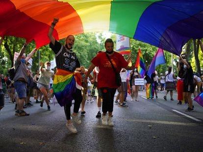 Participantes de la manifestación del Orgullo, este sábado en Madrid.