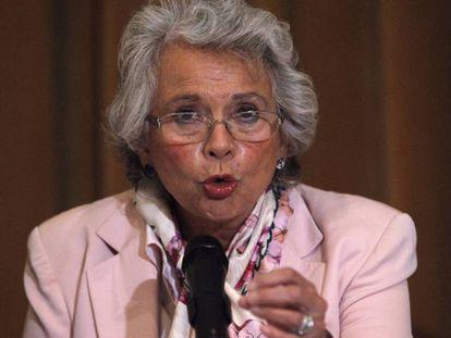 Olga Sánchez Cordero, en una rueda de prensa en Ciudad de México.