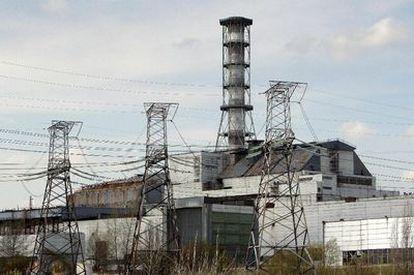 Foto del 19 de abril de 2010 que muestra el reactor 4 de la central nuclear de Chernobyl.