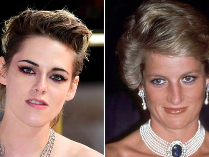 La actriz Kristen Stewart (izquierda) y la princesa Diana de Gales.