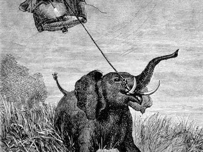 Ilustración original de 'Cinco semanas en globo', de Jules Verne.