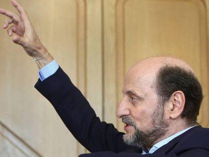 José Miguel Fernández Sastrón, presidente de la SGAE, en su despacho de Madrid, en julio de 2017.