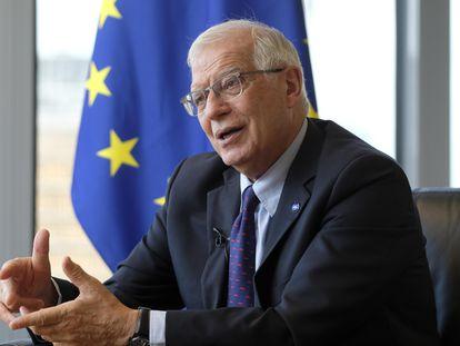 El Alto Representante de Política Exterior de la Unión Europea, Josep Borrell, este viernes en su oficina en Bruselas.