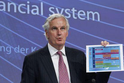 El comisario de Mercado Interior, Michel Barnier, en la presentación de las pruebas de solvencia.