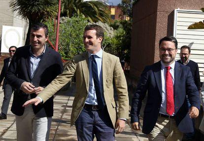 El presidente nacional del PP y candidato a la Presidencia del Gobierno, Pablo Casado, a su llegada este miércoles al Instituto de Astrofísica de Canarias.
