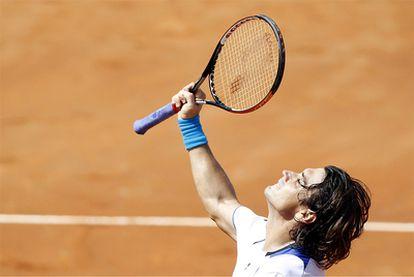 David Ferrer celebra su victoria ante Fernando Verdasco, que le brinda la oportunidad de jugar por su primer Masters
