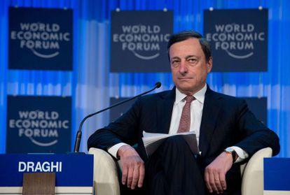 Mario Draghi, presidente del BCE, en Davos.
