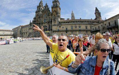Participantes en la manifestación de afectados de las participaciones preferentes.