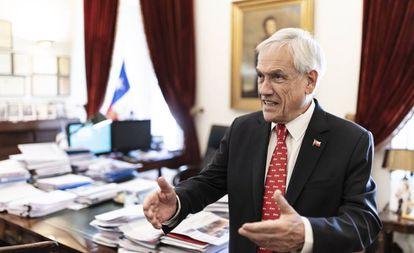 El presidente de Chile, Sebastián Piñera, durante la entrevista el pasado jueves en La Moneda.