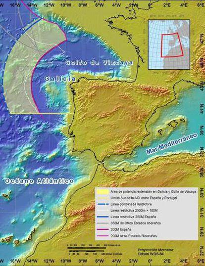 Área entre las 200 millas marinas actuales y las 350 millas marinas de límite máximo de la plataforma continental frente a Galicia. En esta zona están los 50.000 kilómetros cuadrados de ampliación propuestos.