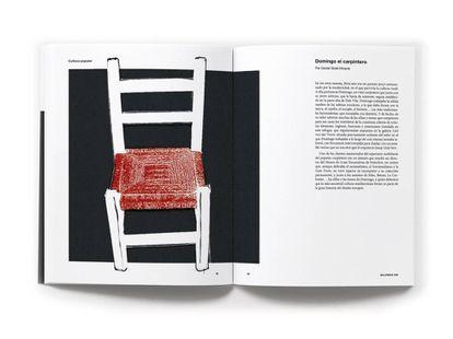 Detalle de la doble página de 'Sillipedia' en la que se cuenta la historia de la silla mediterránea que fabricaba Domingo convertida en icono del diseño.  