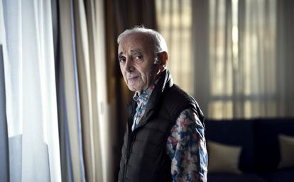 El cantante y compositor Charles Aznavour, ayer, en Madrid.