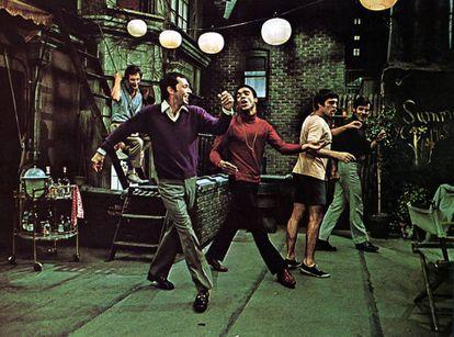 Los actores de la versión cinematográfica de 'Los chicos de la banda' (1970): Frederick Combs, Kenneth Nelson, Reuben Greene, Cliff Gorman y Keith Prentice.