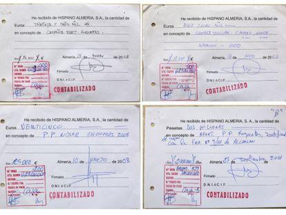 <b>LOS RECIBÍS.</b> La documentación de la constructora que investiga la fiscalía señala supuestos pagos de Hispano Almería al PP para las campañas electorales de 2003 y 2008.